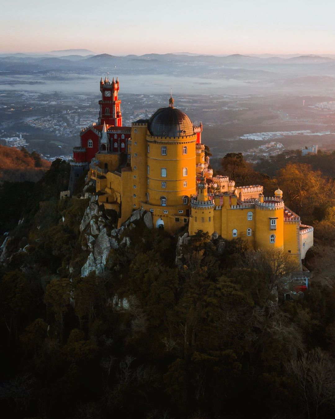vista aérea do palácio da pena